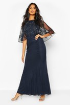 boohoo Bridesmaid Hand Embellished Cape Maxi Dress