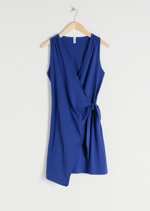 And other stories Sleeveless Cotton Mini Wrap Dress