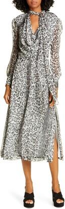 Tommy Hilfiger Tommy x Zendaya Leopard Tie Neck Long Sleeve Midi Dress