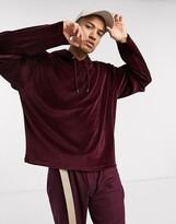 Asos Design DESIGN oversized hoodie in velour with double layer sleeves in burgundy