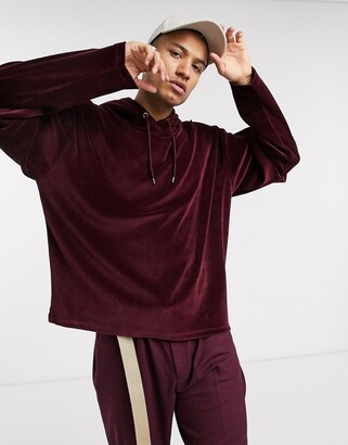 Asos DESIGN oversized hoodie in velour with double layer sleeves in burgundy