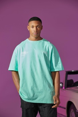 boohoo Mens Green Oversized Overdyed Print T-shirt, Green