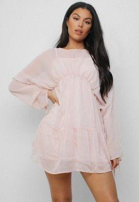 Missguided Nude Ruched Sleeve Smock Dress