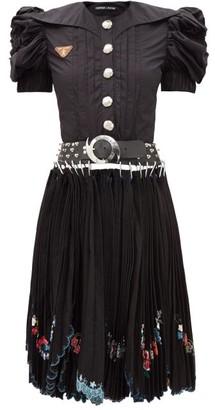 Chopova Lowena - Puff-sleeve Embroidered Cotton-poplin Dress - Black