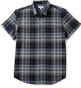 Calvin Klein Yarn-Dye Bar Plaid Short-Sleeve Woven Shirt