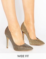 New Look Wide Fit Glitter Pointed Court Shoe
