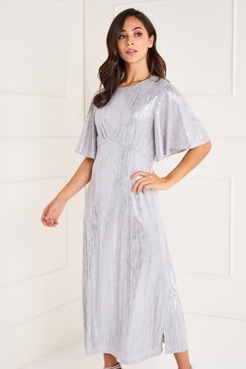 Yumi Foil Detailed Ruffle Sleeve Midi Dress
