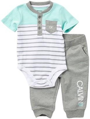 Calvin Klein Henley Bodysuit & Joggers Set (Baby Boys 3-9M)