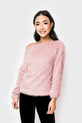Gibson Cozy Feather Knit Off Shoulder Sweater