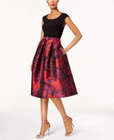 R & M Richards Belted Floral Brocade Fit & Flare Dress