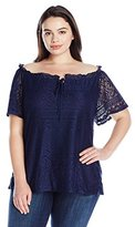 NY Collection Women's Plus Size Solid Scoop Neck Lace Top with Key Hole Drawstring AT Front Neck with Denier Lining