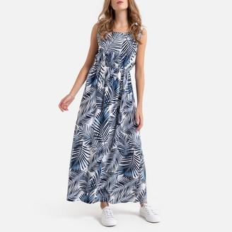 Molly Bracken Sleeveless Tropical Print Maxi Dress with Low Back