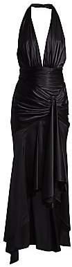 Alexandre Vauthier Women's Satin High-Low Plunging Halter Gown