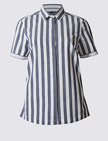 M&S Collection Cotton Rich Striped Fuller Bust Shirt