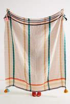Anthropologie Tasseled Grid Throw Blanket