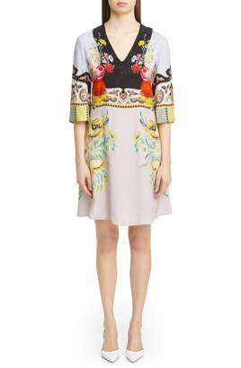 Etro Placed Rose Print Floral Jacquard Dress