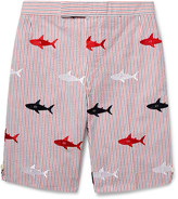 Thom Browne Shark-embroidered Striped Cotton-seersucker Shorts