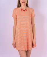 Neon Orange Stripe T-Shirt Dress
