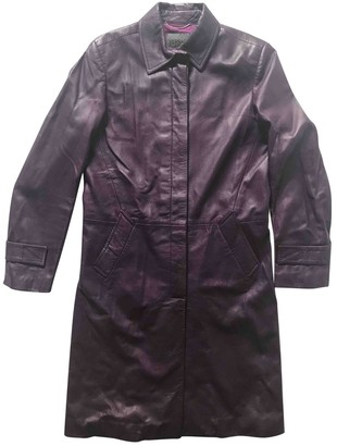 Versace Purple Leather Trench Coat for Women Vintage
