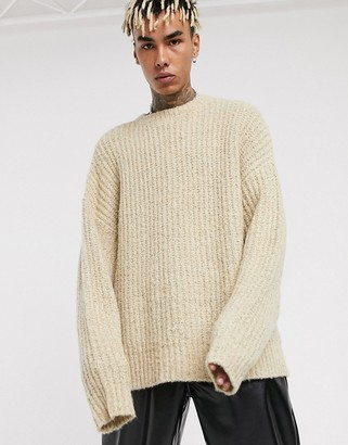 ASOS DESIGN oversized chunky knit sweater in oatmeal