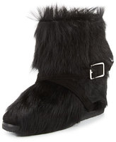 Gianvito Rossi Flat Fur Ankle Boot, Black