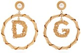 Dolce & Gabbana Faux-pearl Hoop-drop Earrings - Womens - Gold