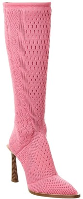 Fendi High Tech Jacquard Knee High Boot
