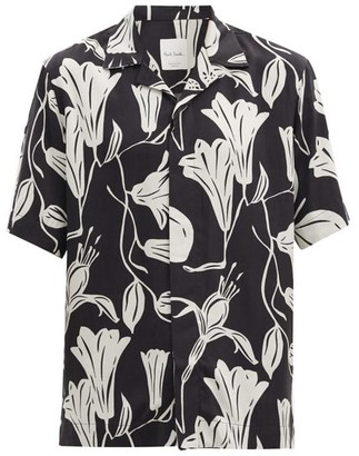 Paul Smith Cuban-collar Floral-print Fluid-poplin Shirt - Black White