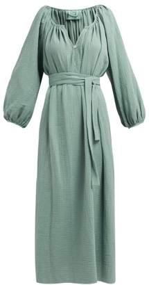 Loup Charmant Textured Organic Cotton-gauze Midi Dress - Womens - Green
