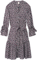 Rebecca Taylor La Vie long sleeve Fabrice dress in floral print - MEDIUM - Purple/Grey/Black