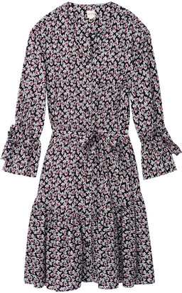 Rebecca Taylor La Vie long sleeve Fabrice dress in floral print - MEDIUM - Purple/Grey/Black