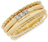 Thumbnail for your product : Sterling Forever 4-Piece 14K Goldplated Crystal Stackable Ring Set