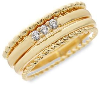 Sterling Forever 4-Piece 14K Goldplated Crystal Stackable Ring Set