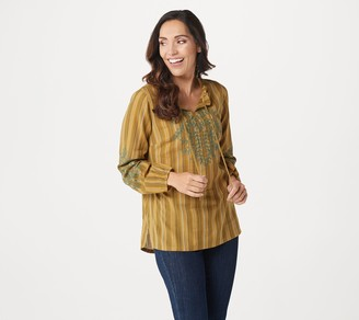 Logo by Lori Goldstein Striped Woven Blouse with Embroidery