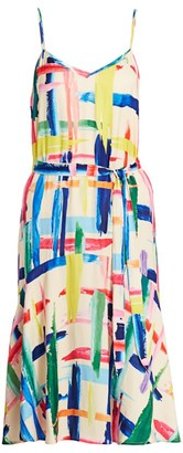 Essentiel Antwerp Varah Multicolor Paint Splatter Tie-Waist Slip Dress