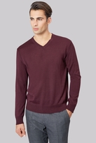 Moss Bros Wine V-Neck Jumper