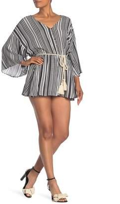 Dress Forum Striped Kimono Sleeve Romper