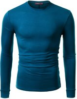 Doublju Mens Long Sleeve Crew Neck Side Button T-Shirts , Teal