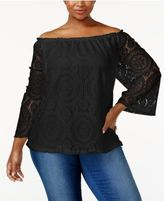 ING Trendy Plus Size Off-The-Shoulder Lace Top