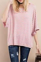 Easel Striped Oversized Top