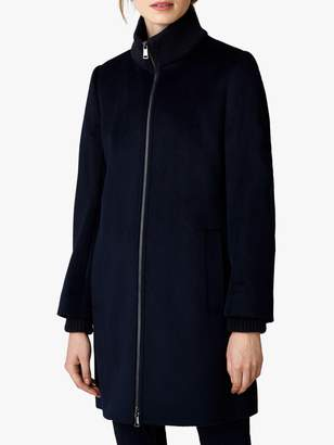 Jaeger A Line Knit Collar Wool Coat, Navy