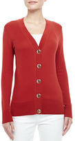 Tory Burch Simone Logo-Button Cardigan, Acai Red