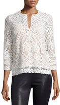 BCBGMAXAZRIA Honora 3/4-Sleeve Lace Top, Ivory