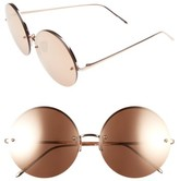 Linda Farrow Women's 58Mm 22 Karat Gold Trim Rimless Round Sunglasses - Rose Gold
