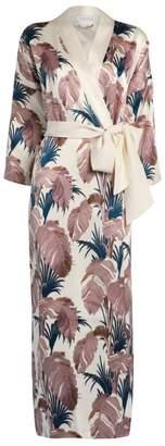 Olivia von Halle Queenie Feather Embroidery Silk Robe