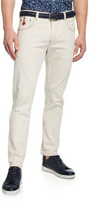 Isaia Men's Straight-Leg 5-Pocket Twill Pants
