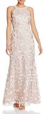 Eliza J Floral Applique Gown