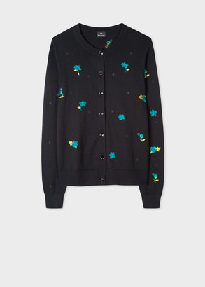 Paul Smith Women's Black 'Wild Rose Floral' Embroidered Cardigan