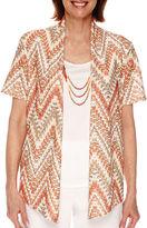 Alfred Dunner Feels Like Spring Short Sleeve Chevron Texture 2Fer Shirt