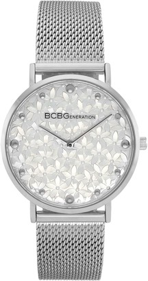 Bcbgeneration BCBGeneration Women's Stainless Floral Dial Mesh Watch